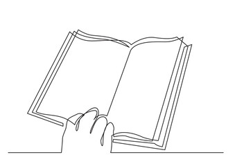 Wall Mural - continuous line drawing of human hand holding book