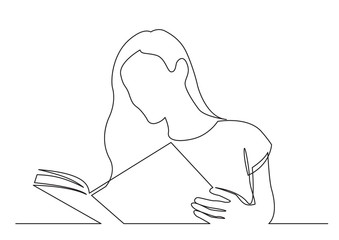 Wall Mural - continuous line drawing of long hair woman reading book