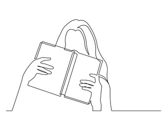 Wall Mural - continuous line drawing of shy young woman hiding her face behind book