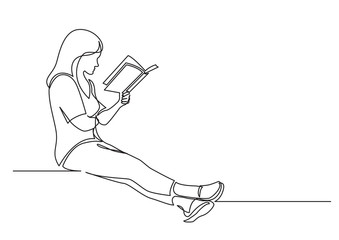Wall Mural - continuous line drawing of sitting concentrated woman reading interesting book
