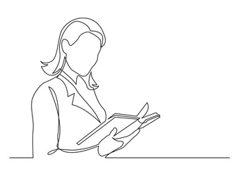 Wall Mural - continuous line drawing of business woman reading book