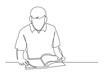 Wall Mural - continuous line drawing of young man reading book