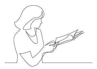Wall Mural - continuous line drawing of woman reading printed magazine