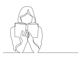 continuous line drawing of woman focused on reading interesting book