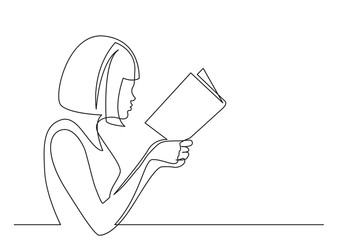 Wall Mural - continuous line drawing of woman concentrated on reading interesting book