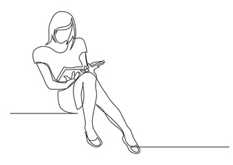 Wall Mural - continuous line drawing of young woman sitting reading book