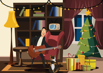 Christmas and New Years interior vector illustration
