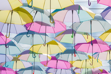 Close up colorful umbrella, Show background umbrella on street