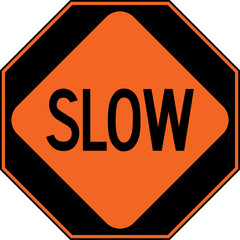 United States of America road construction sign: go / slow / stop three panels to use by hand