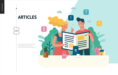 Business series, color 1 - articles - modern flat vector illustration concept of man and woman reading article on the folded computer screen like a magazine. Creative landing page design template