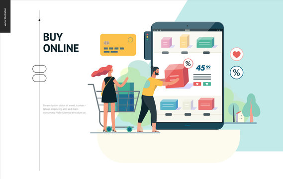 Business series, color 1 - buy online shop - modern flat vector illustration concept of man and woman shopping online Website interaction and purchasing process. Creative landing page design template