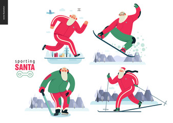 Sporting Santa - winter otdoor activities set - modern flat vector concept illustrations of cheerful Santa Claus running, snowboarding, skiing, playing hockey, wearing red tracksuit, winter landscape