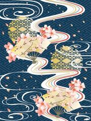 和柄と波と桜の背景素材