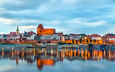 Fototapeten Pool Skyline of Torun old town in Poland