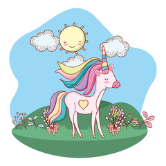 Poster unicorn outdoors cartoon