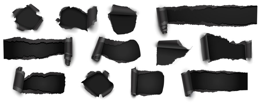 Collection of Torn Black Paper Isolated on White. Vector Illustration