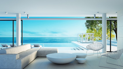 Beach living on Sea view - perfect living / 3d rendering