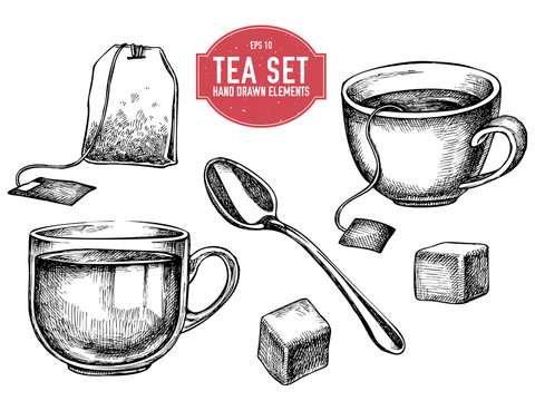 Vector collection of hand drawn tea stuff