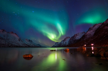 Papiers peints Aurore polaire The polar lights in Norway. Tromso.