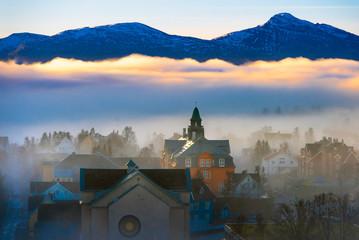 .Fog over the city of Tromso