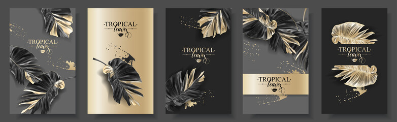 Tropic alocasia leaf black and gold banner set