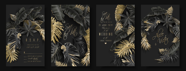 Tropical leaves black and gold wedding cards Wall mural