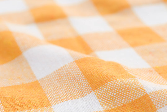 and white checkered creased  kitchen towel background