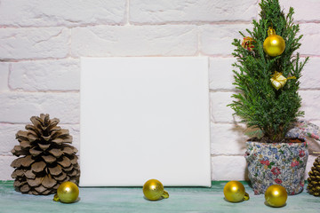 Mockup poster in Christmas interior. Blank canvas and Christmas decoration.