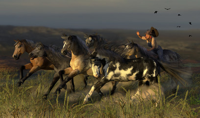 3d illustration of a young cowgirl rounding up a herd of wild mustangs at sunset on the desert