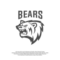 Bear Logo design vector. Modern professional grizzly bear logo for a sport team