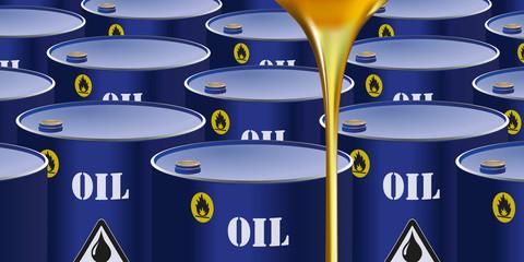 des barils de pétrole entreposés avec au premier plan de huile de carburant qui coule.