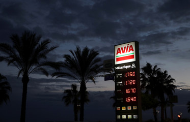 Fuel prices are displayed at a petrol station in Cagnes-Sur-Mer
