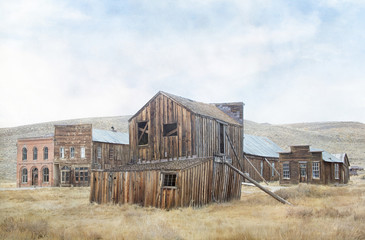 Original textured photograph of a gold mining ghost town with dilapidated buildings