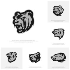 Collection of Bear Logo design vector. Modern professional grizzly bear logo for a sport team