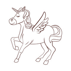 Unicorn with wings cartoon in black and white