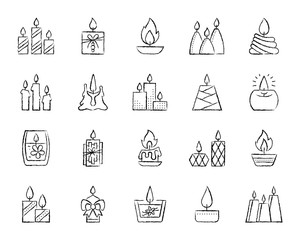 Candle Flame charcoal draw line icons vector set