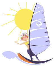 Windsurfing woman illustration. Sunny day, big wave and smiling woman rids on the windsurfing boat