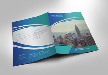 Presentation Folder Layout with Blue Gradient Elements