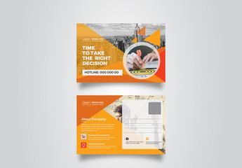 Postcard Layout with Orange Elements