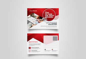 Postcard Layout with Red Gradient Elements