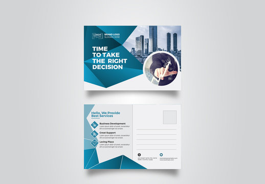 Postcard Layout with Blue Gradient Elements