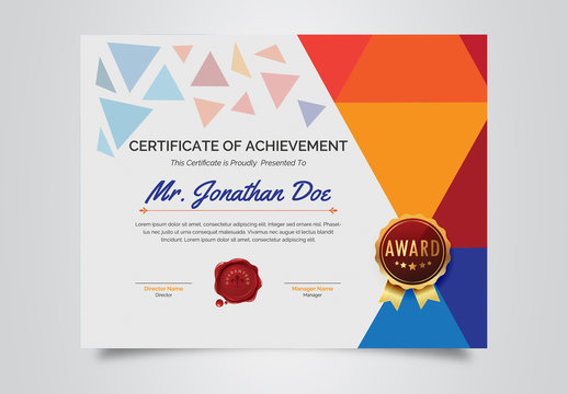 Multicolored Certificate of Achievement Layout