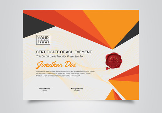 Certificate of Achievement Layout with Orange Elements