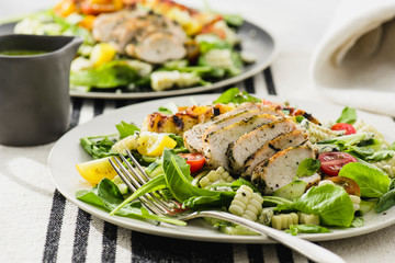 Grilled Basil Chicken Salad with Peaches and Corn