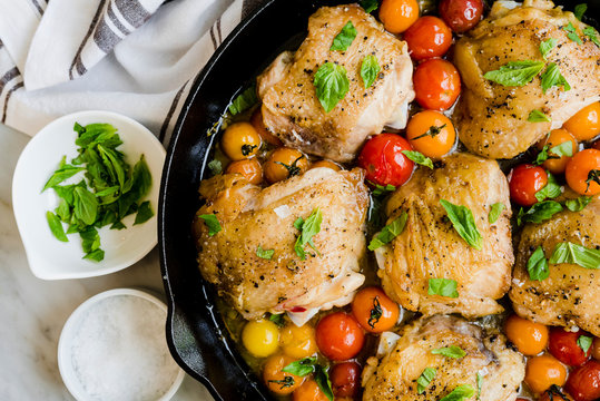 Fried Chicken with Burst Tomatoes