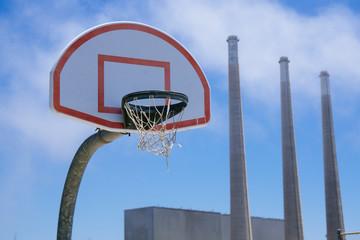 Basketball Hoop and smoke stacks