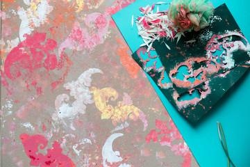 Creative mess and patterned painted wall