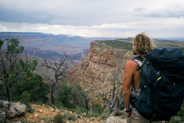 A man looking into the Grand Canyon