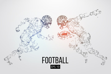 Silhouette of a american football player particles, lines and triangles on background. Rugby. Vector illustration