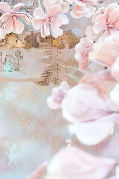 Painted background with floral decor